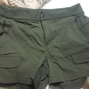 Athleta water resistant olive shorts.